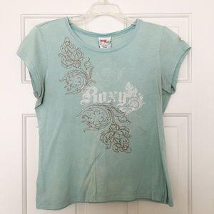Roxy Aqua Baroque Floral Tee Shirt Junior Size XL